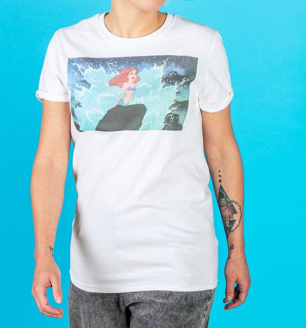 Women's White Little Mermaid Ariel Singing T-Shirt with Rolled Sleeves