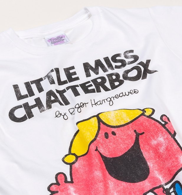 Women's White Little Miss Chatterbox Fitted T-Shirt