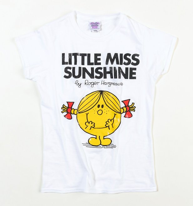 Women's White Little Miss Sunshine Fitted T-Shirt