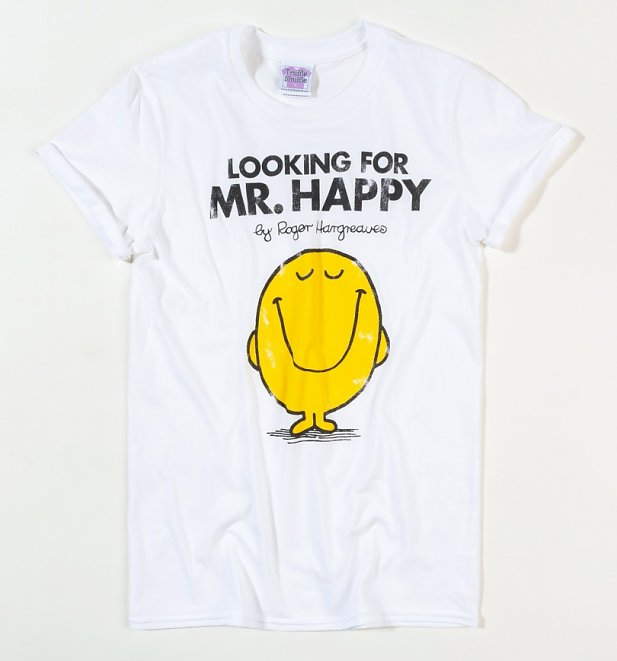Women's White Looking For Mr Happy Mr Men Boyfriend T-Shirt