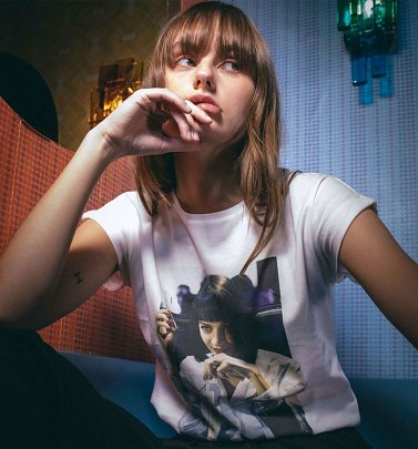 Women's White Mmmm Yummy Pulp Fiction Mia Organic Cotton T-Shirt from Dedicated