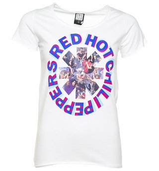 Women's White Red Hot Chili Peppers Freaky Styley T-Shirt from Amplified