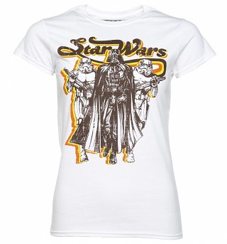 Women's White Retro Star Wars Darth Vader And Stormtroopers T-Shirt