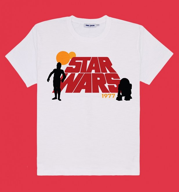 Women's White Retro Star Wars T-Shirt from Fabric Flavours