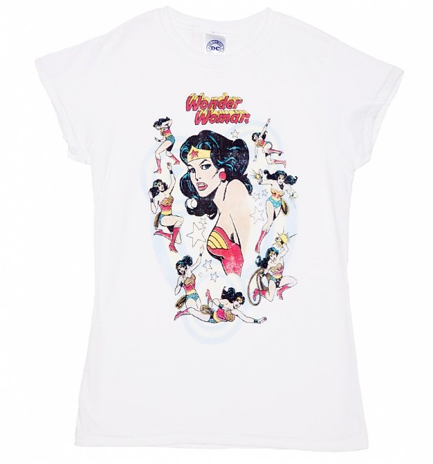 Women's White Vintage Wonder Woman Poses T-Shirt