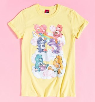 Women's Yellow Care Bears Sweet Treats Clouds Rolled Sleeve Boyfriend T-Shirt