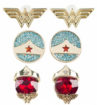 Wonder Woman Set of 3 Stud Earrings