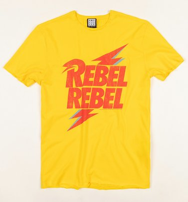 Yellow David Bowie Rebel Rebel T-Shirt from Amplified