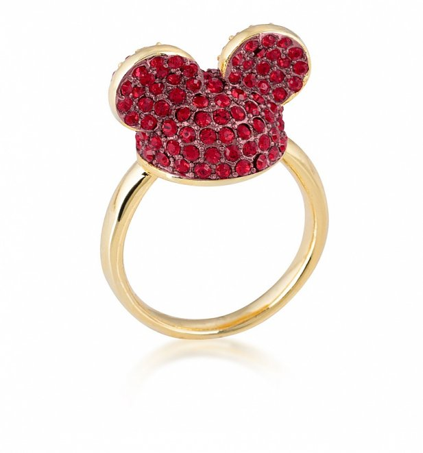 Yellow Gold Plated Mickey Mouse Red Crystal Ears Ring from Disney by Couture Kingdom