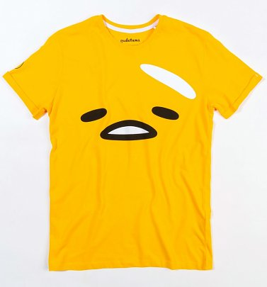 Yellow Gudetama Face T-Shirt with Back Print from Difuzed