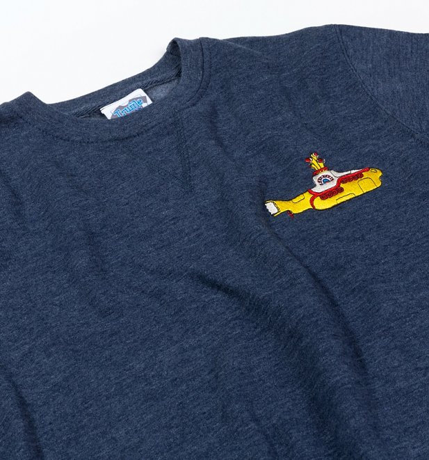 Yellow Submarine Embroidered Heather Navy Sweater