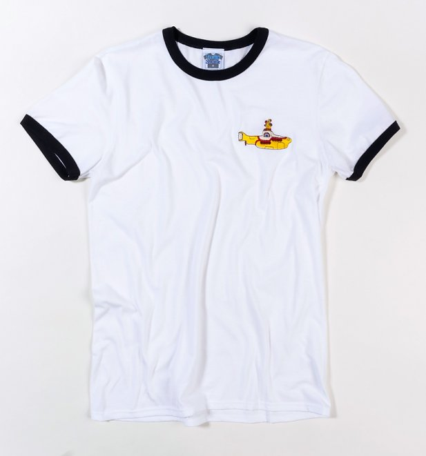 Yellow Submarine Embroidered White And Black Ringer T-Shirt