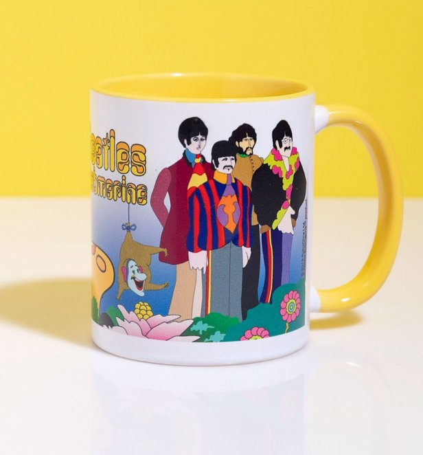 Yellow Submarine Scene Mug With Yellow Handle