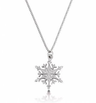14kt White Gold Plated Frozen Snowflake Necklace from Disney Couture