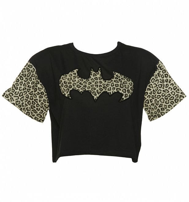 Women's Black Cropped DC Comics Batgirl Leopard Print Detail T-Shirt