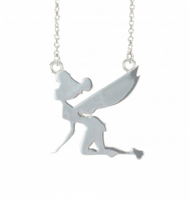 Platinum Plated Silhouette Flying Tinker Bell Necklace from Disney Couture
