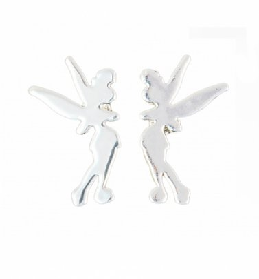 Platinum Plated Tinker Bell Silhouette Stud Earrings from Disney by Couture Kingdom