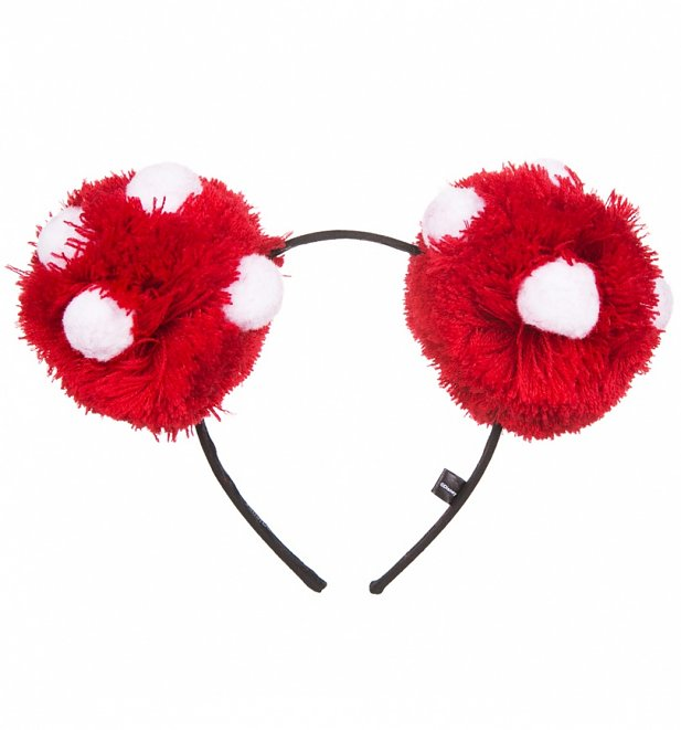 Red And White Bobble Disney Minnie Mouse Ears Headband