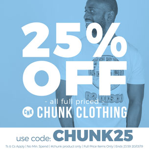 25% off all full priced Chunk Clothing - Use Code: CHUNK25 - Ts & Cs Apply