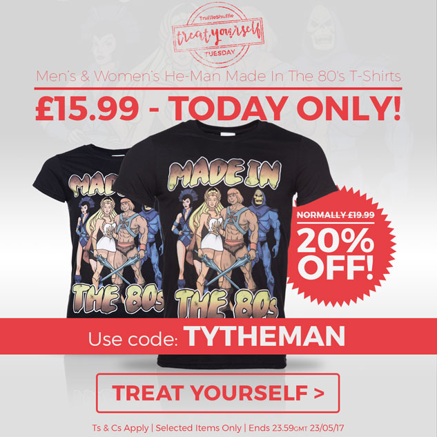 #TREATYOURSELFTUESDAY Save 20% - He-Man Made In The 80's T-Shirts - Just �15.99 TODAY ONLY! - Use code:TYTHEMAN - Ts & Cs Apply [TREAT YOURSELF]