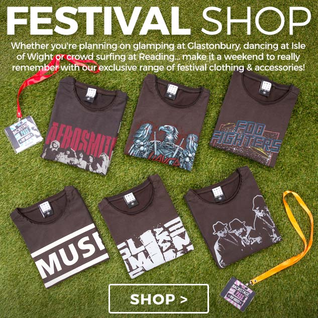 Shop our handpicked selection of band tees, Sunglasses and accessories are all you need to get main stage ready. Now you just need to keep your fingers crossed for sunshine...