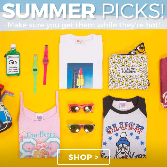 Our summer picks... shop our summer t-shirts and accessories while they're hot!