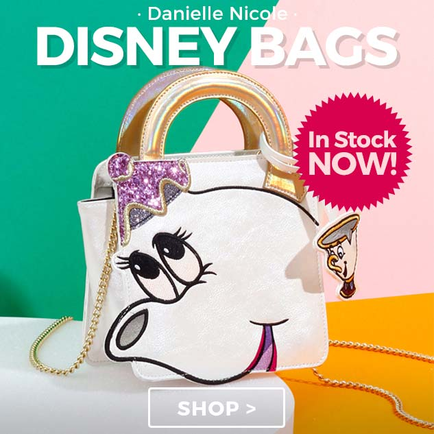 Fantastic new bags from the Danielle Nicole x Disney collection. With special details such as holographic, pearlised and glitter finishes plus embroidery, this premium accessory is one to treasure forever!