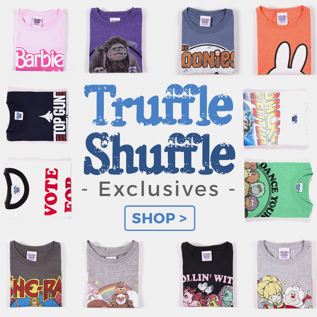 Featuring tons of original retro, vintage-style designs, our TruffleShuffle-exclusive clothing is perfect for those of you looking for something truly unique! You'll find all your favourite childhood memories brought to life on top quality, super-soft T-Shirts, summer-ready vests and cosy jumpers and hoodies (as well as some terrific totes and mugs, too!)