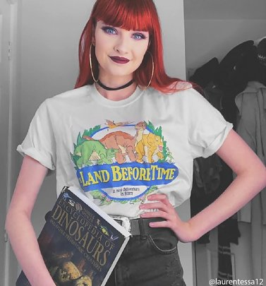 Women's The Land Before Time Natural Boyfriend Fit Rolled Sleeve T-Shirt