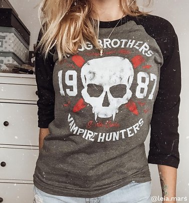 Frog Brothers Vampire Hunters Lost Boys Inspired Grey And Black Raglan Baseball T-Shirt
