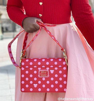 Loungefly Disney Minnie Mouse Pink Polka Dot Bow Strap Cross Body Bag