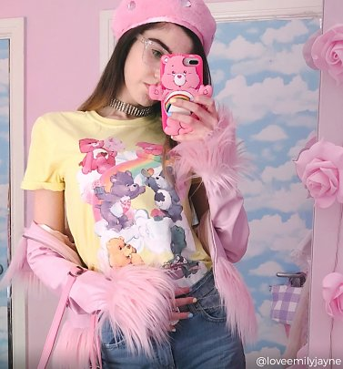 Women's Care Bears Sweet Treats Clouds Yellow Boyfriend Fit Rolled Sleeve T-Shirt
